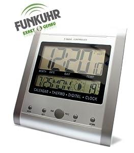 kar kas wand funkuhr mit mondphasenanzeige silber grau funkuhr wecker temperatur. Black Bedroom Furniture Sets. Home Design Ideas