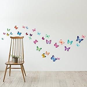 Decowall, DW-1302, 30 lebendige Schmetterlinge Wandsticker