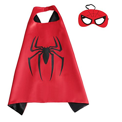 Spiderman Cape and Mask Sets for Unisex Kids Comics Satin Pretend Play, Dress Up, Halloween Costume