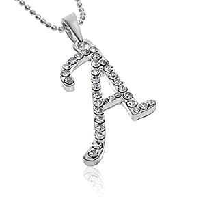 Silvertone Clear Crystal Name Initial Letter Pendant Necklace Letter-A