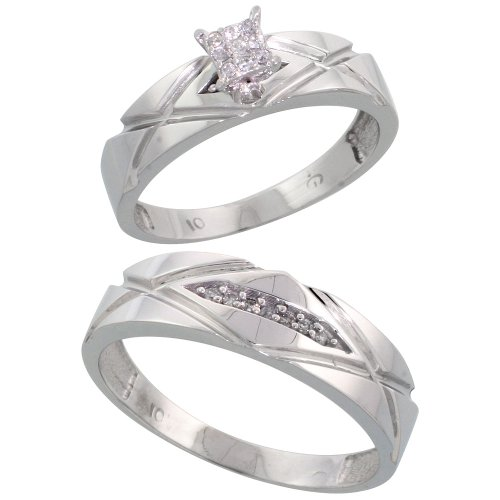 10k White Gold Diamond Engagement Rings Set for Men and Women 2-Piece 0.10 cttw Brilliant Cut, 5mm & 6mm wide, Size 8