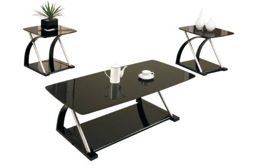 Poundex F3166 3 Piece Coffee Table Black