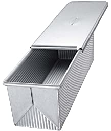 USA Pan Bakeware Aluminized Steel Pullman Loaf Pan with Cover, 9 x 4-Inch
