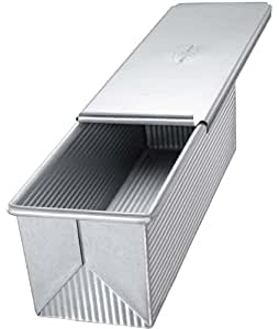 USA Pans Pullman Loaf Pan with Cover, Aluminized Steel with Americoat, 9 x 4 x 4 Inches