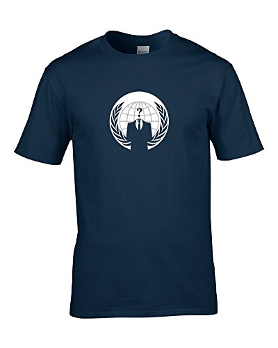 ANONYMOUS LOGO-Cool Iconic Hacktivist simbolo Men's-Maglietta da FatCuckoo blu navy medium