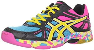 ASICS Women's GEL-Flashpoint Volleyball Shoe,Black/Neon Yellow/Hot Pink,7.5 M US