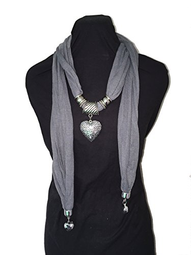 pamper-yourself-now-womens-jewelled-scarf-triple-heart-pendant-180cm-grey