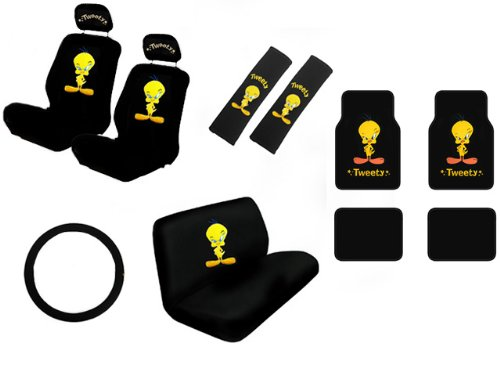 15 piece auto interior gift set tweety bird stars attitude a set of 2 seat covers 1 rear bench. Black Bedroom Furniture Sets. Home Design Ideas