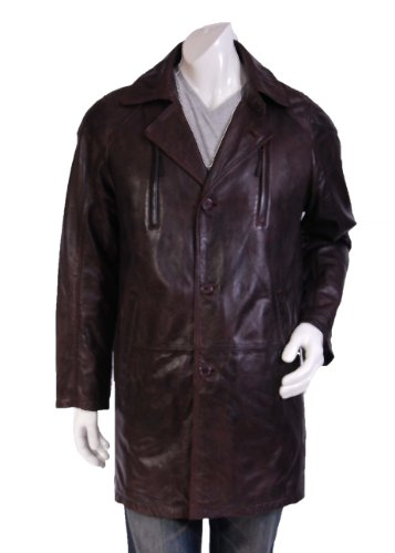 Mens Mid Length Parka Leather Jacket Kim Brown Gents Crombi Style Mid Length Leather Coat (S)