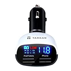 Tarkan 3.4 Amp Dual USB Intelligent Chip Super Fast Plug Car Charger with LED Display and Low Voltage Alarm