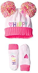 The Children\'s Place Baby Pom Pom Hat and Mittens, Happy/Simply White, X-Small/6-12 Months