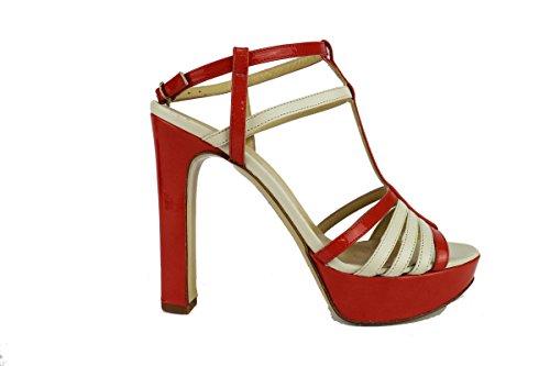 TWIN-SET 38 EU sandali donna bianco arancione pelle vernice AH640