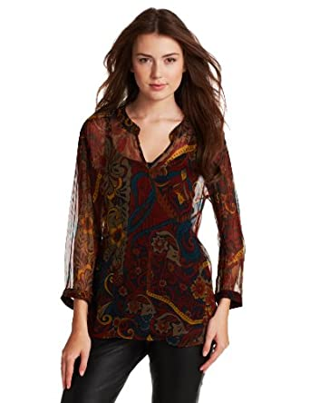 Lucky Brand Women's Carnival Paisley Top, Navy Multi, X-Small