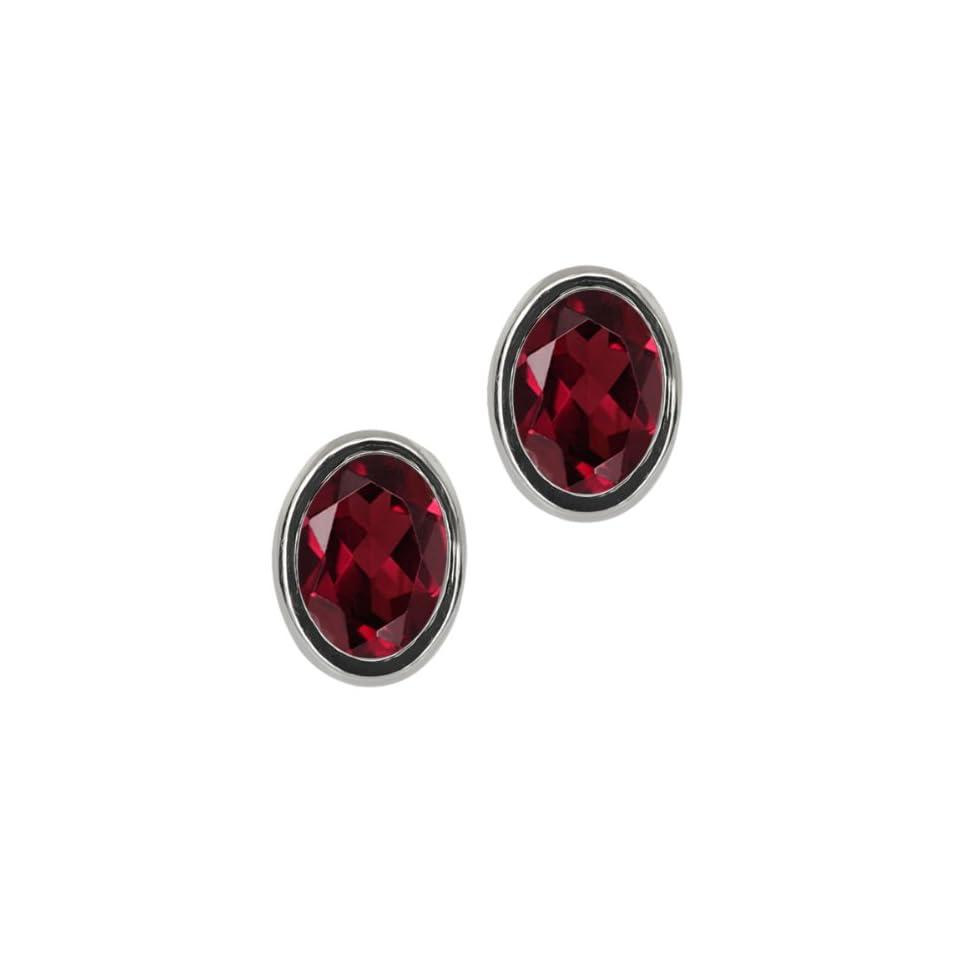 Ct Oval Red Garnet Sterling Silver bezel Stud Earrings 7x5mm Jewelry