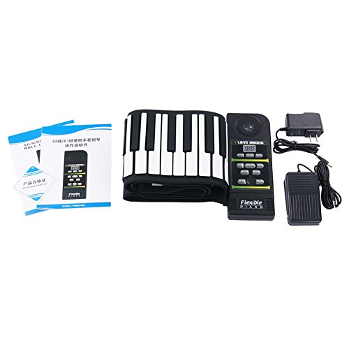 Christmas Day Gift Konix 88 Keys Professional Silicon Rubber Usb Midi Flexible Roll Up Electronic Piano Keyboard With Louder Speaker,For Windows And Mac Os
