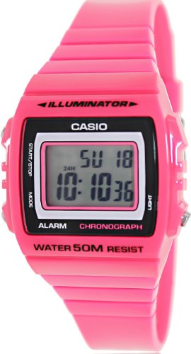 Casio Women's Classic W215H-4AV Pink Plastic Quartz Watch with Digital Dial