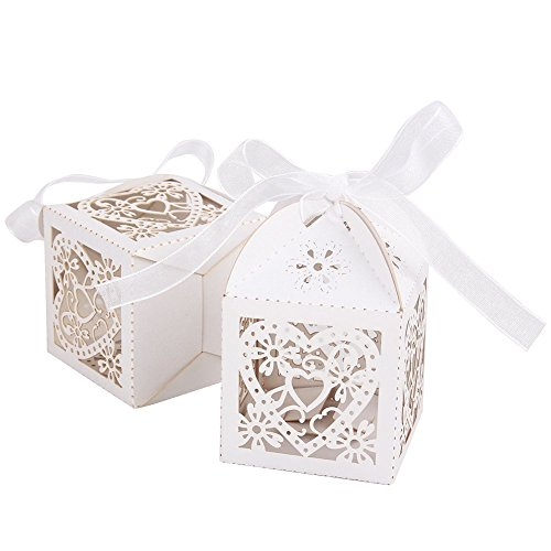 50 pieces Bonbonnière Forme Coeur d'amour Boîte à Dragées Bonbons pour Mariage 2×2×2