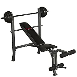 Sunny Health & Fitness Weight/Bench Set, Black