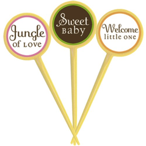 King or Queen of the Jungle Cupcake Picks   Baby Shower Party Picks   12 Count