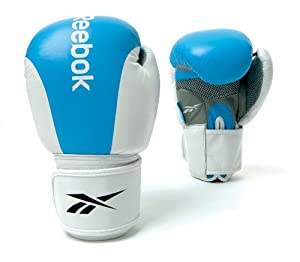 Reebok Leather Training Glove - Light Blue/White, 10 Oz