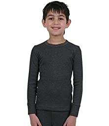 ETHO Childrens/Boys Thermal Long Sleeve Vest, Charcoal 6/8 Yrs
