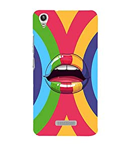 printtech Pop Lips Colored Back Case Cover for Lava Pixel V1