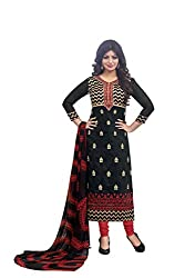Adorn Mania Black Heavy Chanderi Embroidered salwar Suits Dress Material