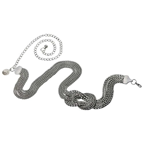 Luxury Divas Silver Tone Multi Strand Celtic Knot Chain Link Belt