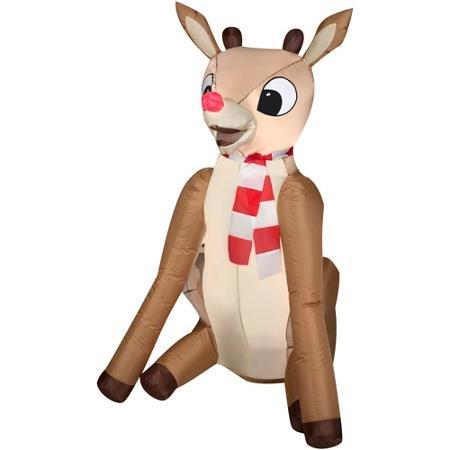 airblown Rudolph la renna dal naso rosso gonfiabile per decorazione natalizia 4'