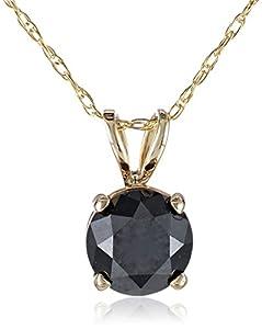 1 cttw Black Diamond Solitaire Pendant 14k Yellow Gold