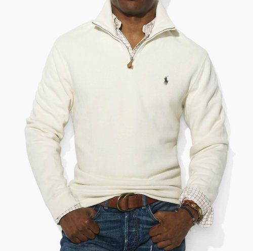 Polo Ralph Lauren Mens Cotton Half Zip Jumper Sweater in Cream (XXXX-Large-BIG)