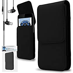 iTALKonline Samsung Z3 / Z3 Corporate Edition Black PREMIUM PU Leather Vertical Executive Side Pouch Case Cover Holster with Belt Loop Clip and Magnetic Closure Includes Black Premium 3.5mm Aluminium High Quality In Ear Stereo Wired Headset Hands Free Headphones with Built in Mic Microphone and On Off Button