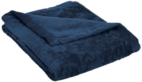 Northpoint High Pile Plush Throw With Dobby Mink Border, Navy front-907276