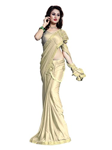 Offer New Arrivals Fancy High Quality Lycra Heavy Embroidred Lehenga Saree(Beige)