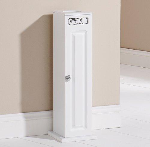 White Bathroom Cabinet Wooden Toilet Roll Floor Standing 1 Door Cupboard Coral