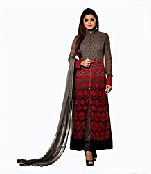 ShopperShopee Women's Georgette Long Salwar Suit Dress Material (LT-GREY_Grey)