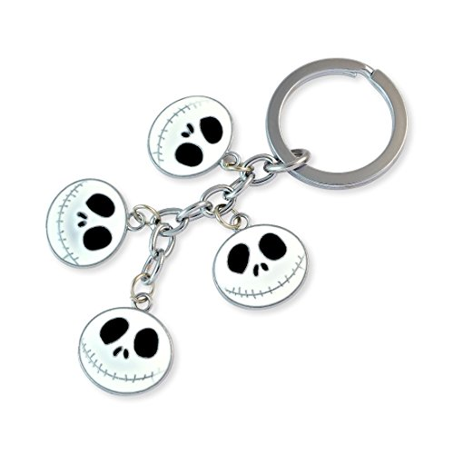 White Demon Face Silver Color Key Chain By Sarah