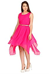 Pretty Angel Woman's Polygeorgette Dresses (X-Small, Pink)