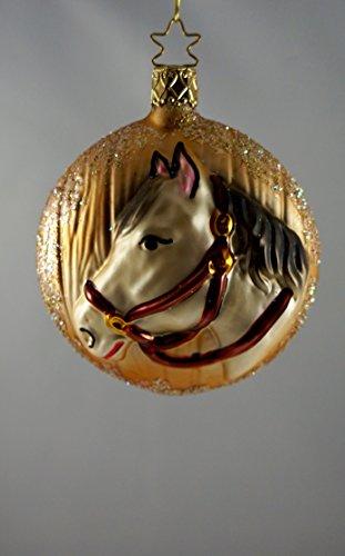 """INGE-glas boule beige/motif chevaux-médaillon """""""
