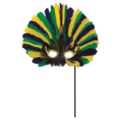 Beistle 57067-GGP Feathered Mask with Stick - 1