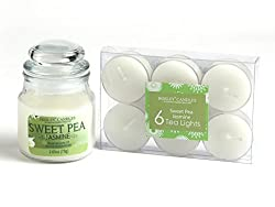 Hosley Sweet Pea Jasmine Highly Fragranced, 2.65 Oz wax, Jar Candle with Pack of 6pieces Scented Tealights