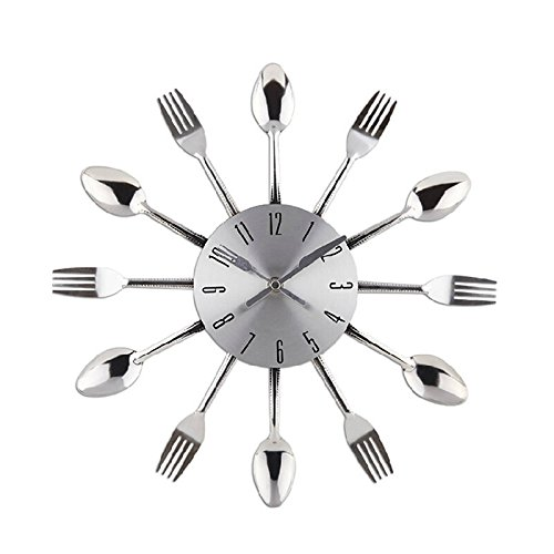 Watch Wall Clock Modern Design Silver Kitchen Cutlery Wall Clocks Spoon Fork Home Decor