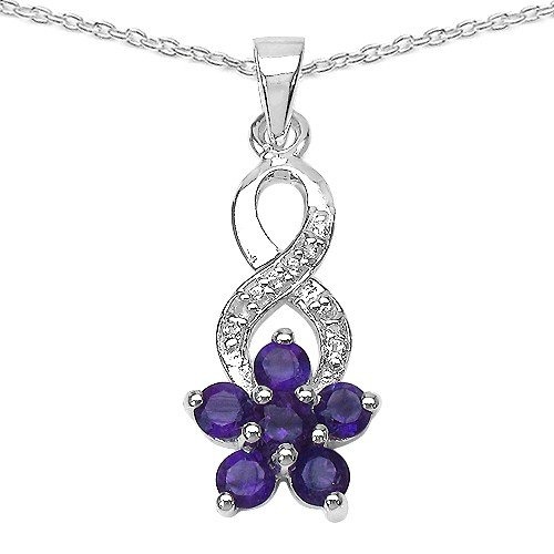 The Amethyst Pendant Collection: Sterling Silver Amethyst Pendant with Platinum Overlay on 18 Inch chain.