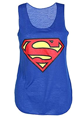 Crazy Girls Womens Superman Superhero Print Vest Tank Top, Blue