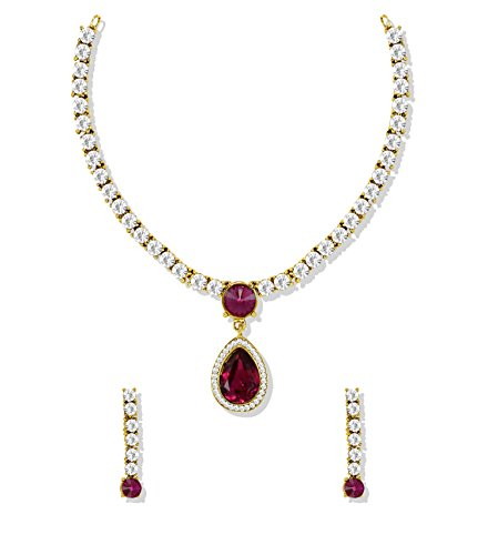 Zaveri Pearls Solitaire Ruby Dark Pink Strand Necklace Earring Set For Women/Girls