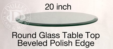 Cheap 20″ Round Glass Table Top, 1/2″ Thick, Beveled Edge, Annealed Glass (RDBEAN)