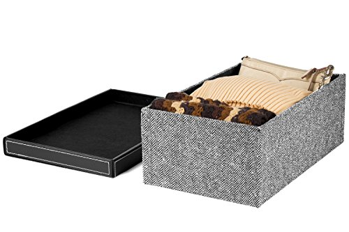 Great Features Of Creative Scents Black & White Herringbone Design Pattern Fabric Storage Box, L...