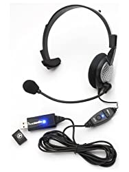 Monaural USB Headset with Noise Cancelling Microphone and Volume/Mute Controls for Voice Recognition and VoIP Applications