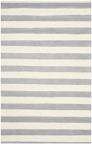 Safavieh Cambridge Collection CAM154A Handmade Grey and Ivory Wool Area Rug, 5 feet by 8 feet (5' x 8')