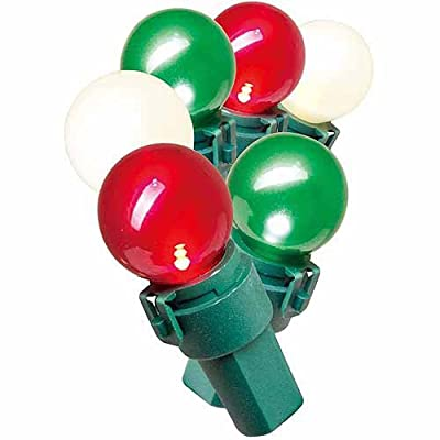 Holiday Time Lite-Lock LED Pearlized Glass G15 Christmas Lights, White, Red and Green, 70 Count